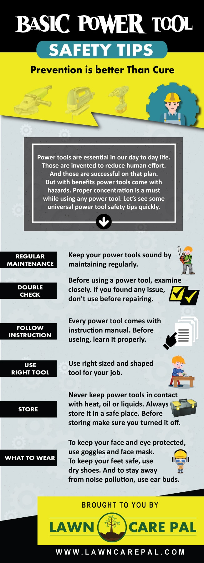 Basic Power Tool Safety Tips Infographic